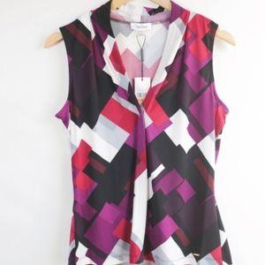 NWT Calvin Klein Sleeveless Patterned Blouse